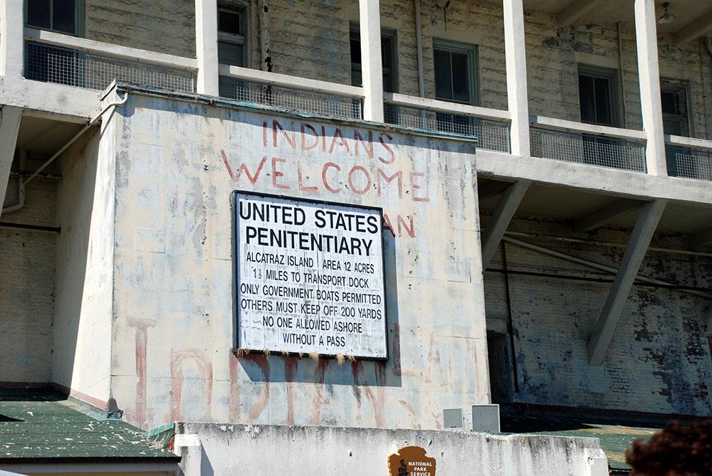 Un cartel en Alcatraz
